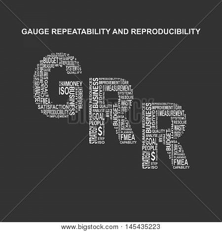 Gauge repeatability and reproducibility typography background. Dark background with main title GRR filled by other words related with gauge repeatability and reproducibility method. Vector illustration