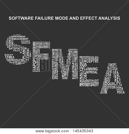 Software failure mode and effect analysis typography background. Dark background with main title SFMEA filled by other words related with software failure mode and effect analysis method. Vector illustration