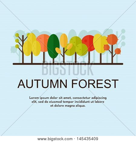 Autumn forest poster. Autumn trees on blue background with text template. Flat style vector illustration.