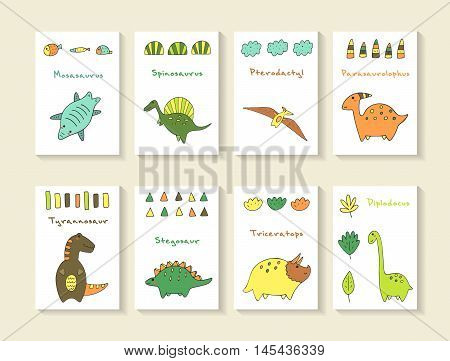 Cute hand drawn doodle dino collection including mosasaurus spinosaurus pterodactyl parasaurolophus tyrannosaur stegosaur triceratops diplodocus. Dino icons collection with abstract elements