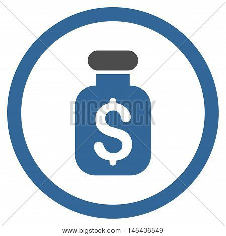 Business Remedy rounded icon. Vector illustration style is flat iconic bicolor symbol, cobalt and gray colors, white background.