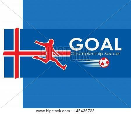 Iceland Soccer Goal. EUROPE. 2016 Championship Soccer. Football Iceland. Logo Goal and soccer player on Iceland flag. Image illustration of Sport football. Iceland flag. Iceland. Viking fan. 2016