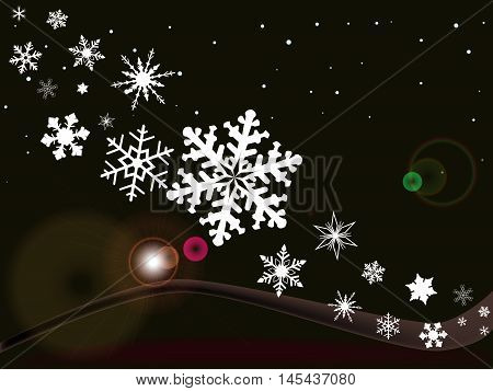 A Christmas Winter background with snowflakes and falling snow