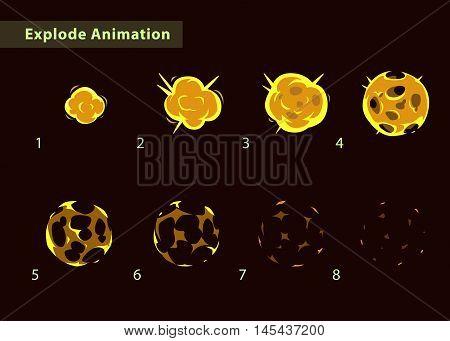 Explode effect animation. Cartoon fire ball explosion frames. Fireball burst sprites for game design.