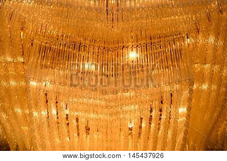 Close-up of a beautiful crystal chandelier, tlhailand