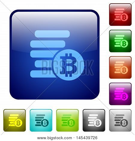 Set of Bitcoins color glass rounded square buttons