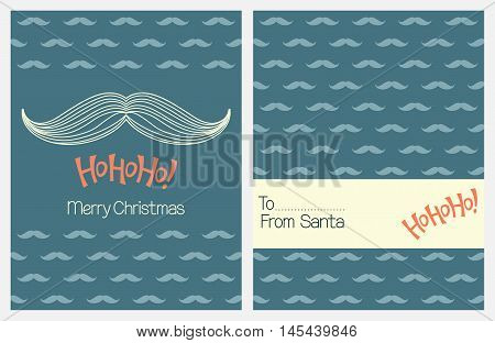 Christmas greeting cards with Santa Claus mustache and Ho Ho Ho! Lettering
