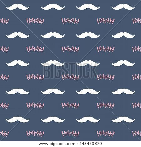 Seamless pattern with Santa Claus mustache and Ho Ho Ho! lettering for Christmas design