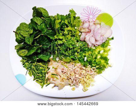Ingredients for thai food such as Basil garlic lemon grass kaffir