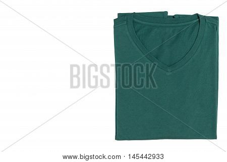 V-neck T-shirt isolated on white background with clipping path