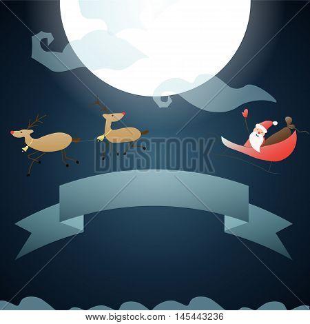 Santa Claus Flies Through The Sky On The Moon,