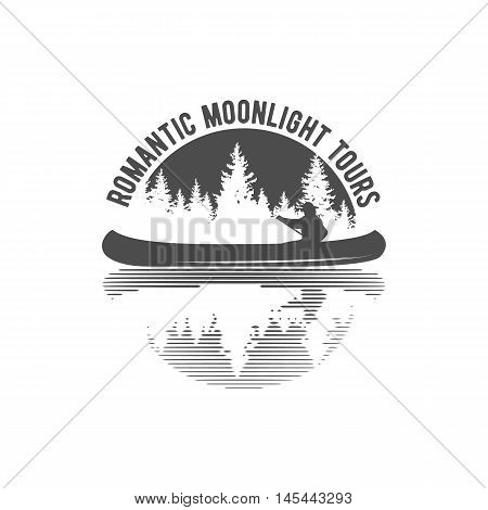 Vintage mountain, rafting, kayaking, paddling, canoeing camp logo, labels and badges. Stylish Monochrome design. Outdoor activity theme. Summer and winter vacation insignias.
