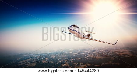 Realistic photo of white generic design private Jet flying over the mountains. Empty blue sky with sun  background.Business Travel by modern Luxury Plane.Horizontal.Closeup photo. 3D rendering