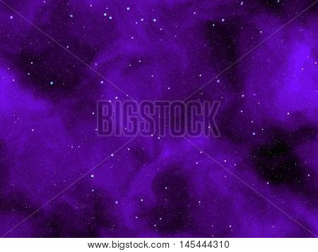 Mysterious space planets and stars, enveloped in purple clouds.