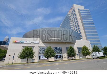 CHARLOTTE NORTH CAROLINA JUNE 20 2016: NASCAR Hall of Fame. Opened in 2010 it honors drivers who have shown exceptional skill at NASCAR driving, all-time great crew chiefs and owners.