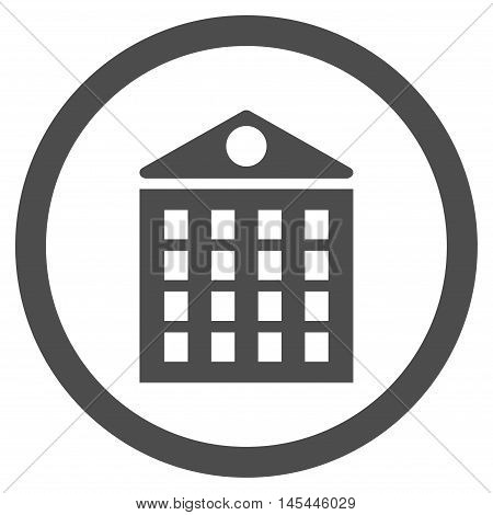 Multi-Storey House rounded icon. Vector illustration style is flat iconic symbol, gray color, white background.