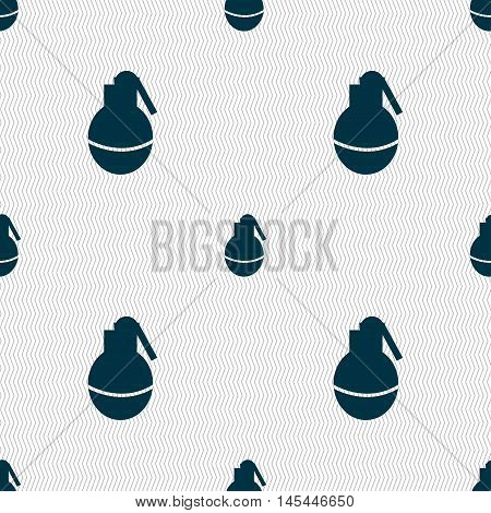 Hand Grenade Icon Sign. Seamless Pattern With Geometric Texture. Vector