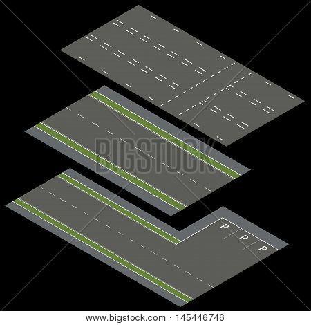 Isometric vector roads. Constructor roads. Isometric vector roads. Constructor roads. Vector illustration