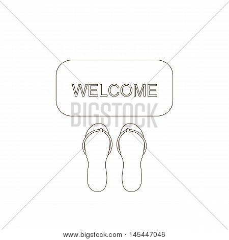 Door mat icon. Welcome carpet with shoose sandals. Hospitality sign. Vector illustration