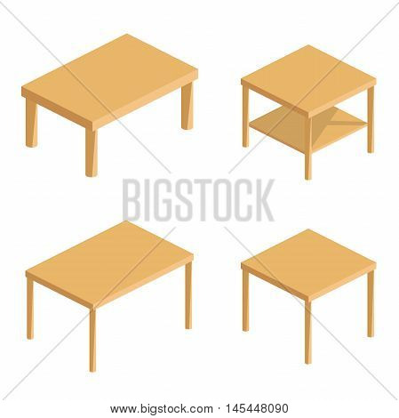 flat set of vector isometric tables. table isolated on white background and shown from different sides. vector illustration of a wooden table. Isometric household table.