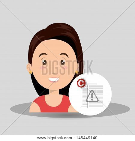woman documents confidential vector illustration design eps 10