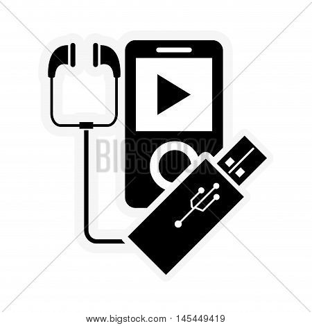 flat design mp3 player and usb drive icon vector illustration