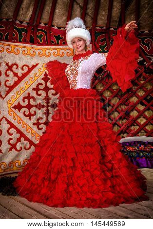 Beautiful woman in the image of a Kazakh bride in national costume.