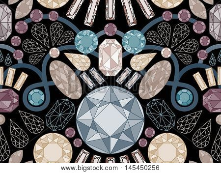 Vector seamless pattern with jewels