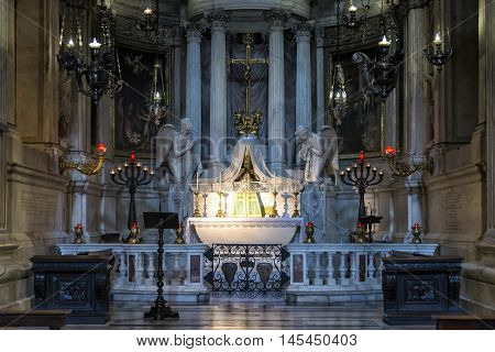 Genova, Italy - July 10, 2016: View of left apse chapel of Genoa Cathedral, Italy. Genoa Cathedral is a Roman Catholic cathedral in the Italian city of Genoa. It is dedicated to Saint Lawrence and is the seat of the Archbishop of Genoa.