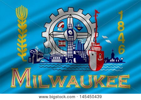 Flag of Milwaukee in the State of Wisconsin of United States. 3D illustration