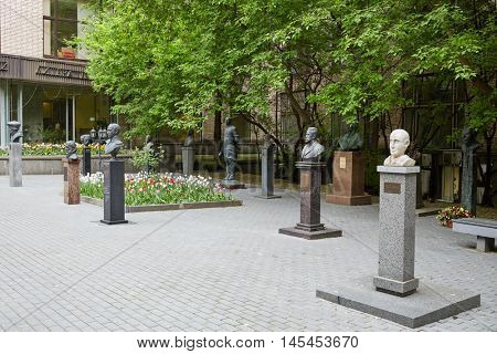 MOSCOW, RUSSIA - MAY 25, 2015: Atrium of All-Russian state library for foreign literature named after M.I.Rudomino. There are sculptures of thinkers and prominent personalities of all time.