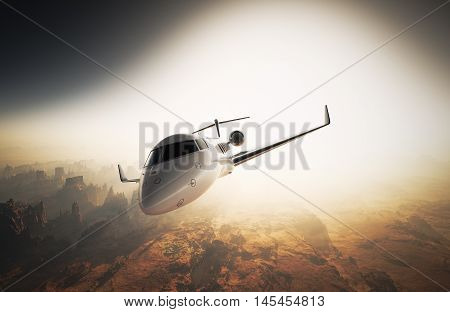 Photo White Glossy Luxury Generic Design Private Jet Flying in Sky under Earth Surface.Grand Canyon Background Sunset. Business Travel Image.Horizontal, Left Angle View.Film Effect. 3D rendering