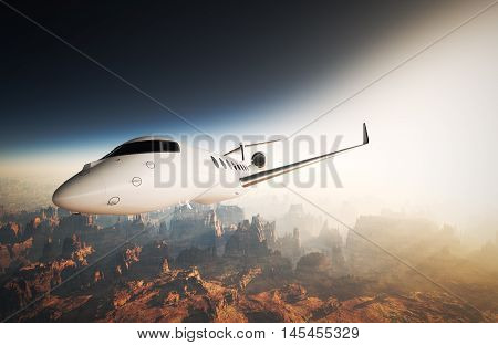Photo White Glossy Luxury Generic Design Private Jet Flying in Sky under Earth Surface.Grand Canyon Background Sunset. Business Travel Picture.Horizontal, Right side View.Film Effect. 3D rendering