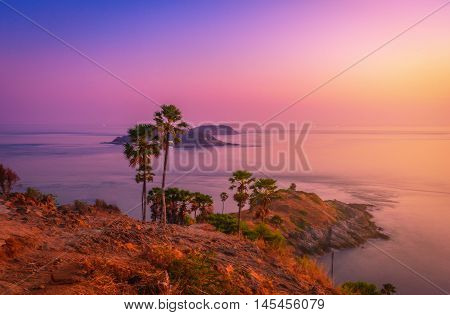 Phromthep cape viewpoint at twilight sky in Phuket, Thailand. Vintage tone