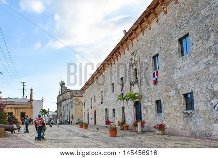 SANTO DOMINGO, DOMINICAN REPUBLIC - January 24: Street life and view of Calle el Conde and Colonial Zone of Santo Domingo. Taken in January 24, 2016 in Santo Domingo, Dominican Republic.