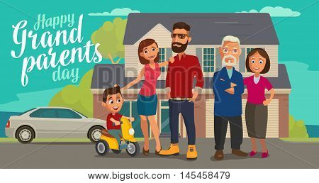 Happy family. Parents grandparents and child on a tricycle on background with house and car. Color flat vector illustration isolated on beige background. Hand drawn lettering.