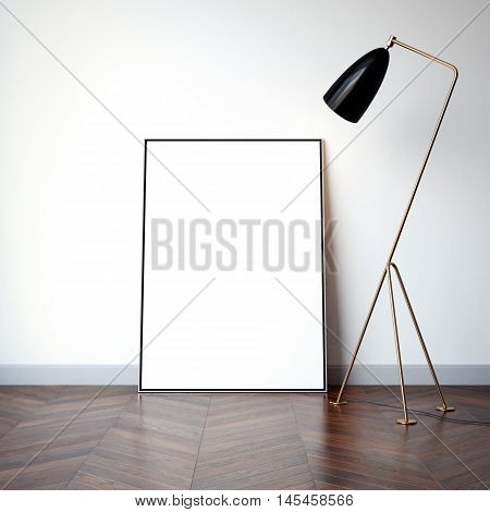 Bright interior with blank white canvas and floor lamp. 3d rendering