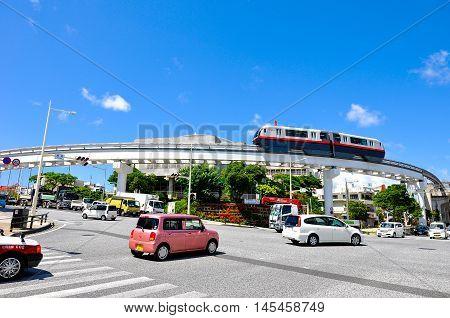 Okinawa Monorail (Yui-Rail) is an only rail transport in Naha City, Okinawa, Japan. Taken in Shuri area near Shuri station, July 22, 2016