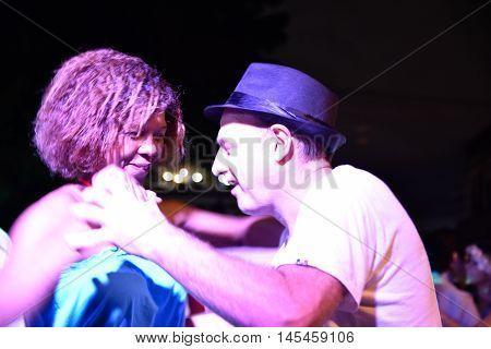 SANTO DOMINGO, DOMINICAN REPUBLIC - JANUARY 24, 2016: A couple dancing salsa. Shot in January 04, 2016 in Santo Domingo, Dominican Republic.