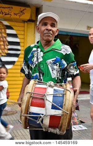 SANTO DOMINGO, DOMINICAN REPUBLIC - January 24: Merengueros in Calle el Conde, Colonial Zone. Taken in January 24, 2016 in Santo Domingo, Dominican Republic.