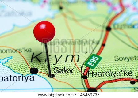 Saky pinned on a map of Krym