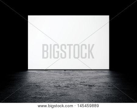 White bollboard glowing in dark studio. 3d rendering