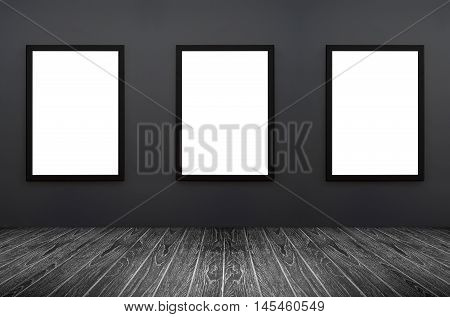 Three Black Frame Hanging On A Grey Wall, White Isolate, Included Clipping Path In A Frame , Perspec