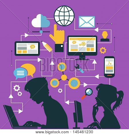 Silhouette of a young people. Infographics background social media network. Concept Internet comunications. Set icons