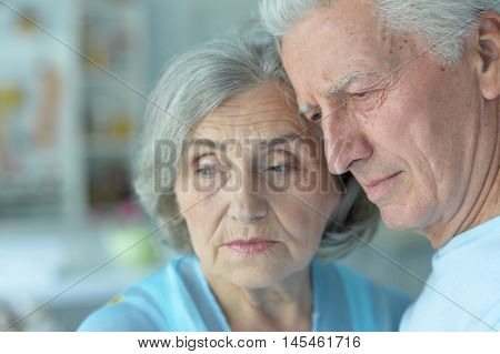 sad beautiful old people in the room