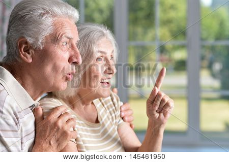 happy nice elderly couple looking  in delight