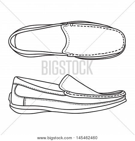 Men's Loafer Shoe. Vector doodle illustation for design