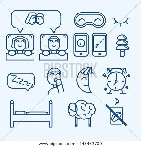 Vector isolated sleep concept icons set: pillow, bed, moon, sheep owl zzz