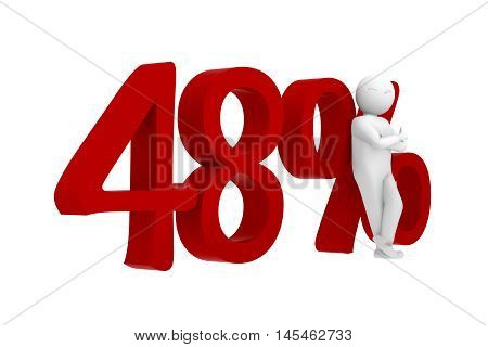 3d human leans against a red 48%
