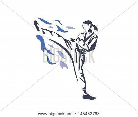 Aggressive Taekwondo Martial Art In Action Logo - Female Athlete On Fire Practice